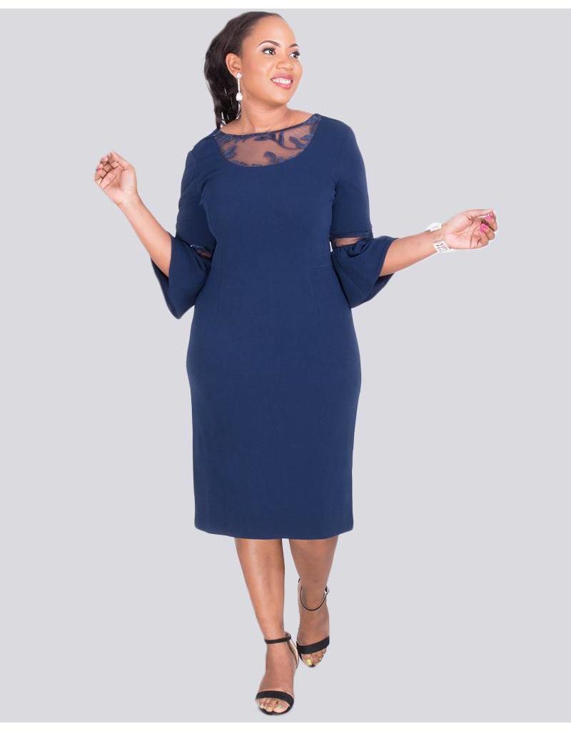 BAPTISTA-  Plus Size Illusion Neckline Dress With Sequins
