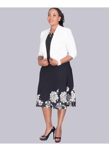 Winola- Plus Size 3/4 Sleeve Jacket and Floral Print Dress