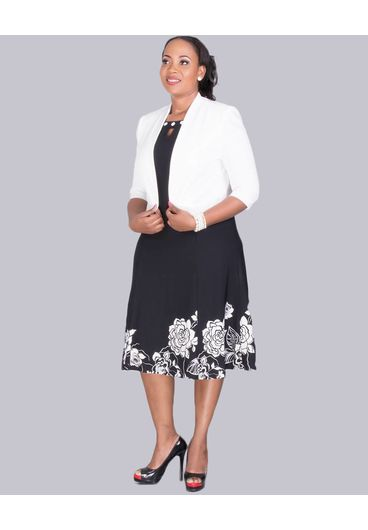 Winola- Plus Size 3/4 Sleeve Jacket and Floral Print Dress