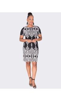 Sandra Darren BRYONY- Printed Short Sleeve Dress