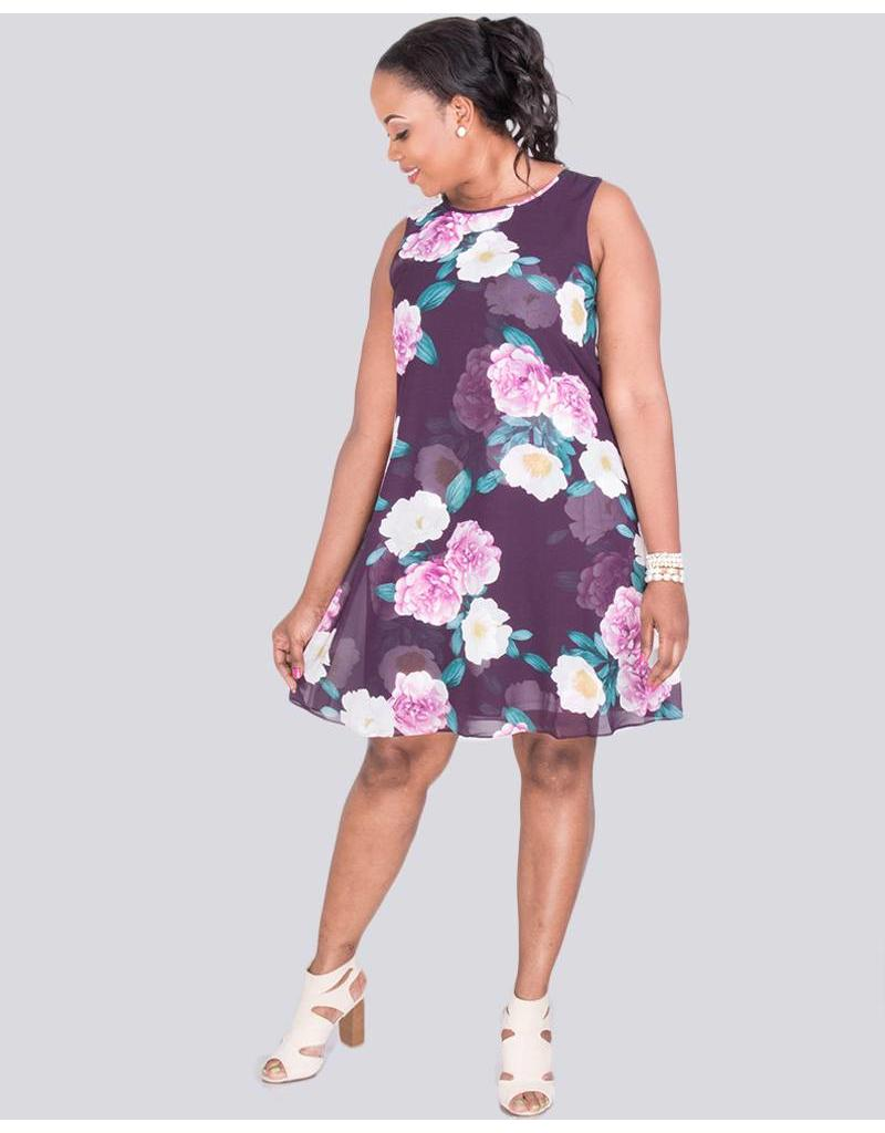 Jessica Howard FIDELITY - Floral Print Overlay Dress