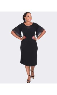 BECHET- Plus Size Bejeweled Neck Dress