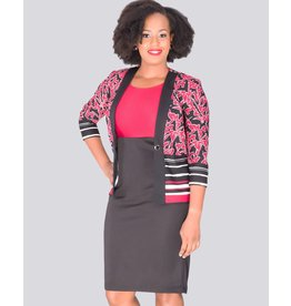 BAJA -  Printed 3/4 sleeve Jacket with Colour Block Dress