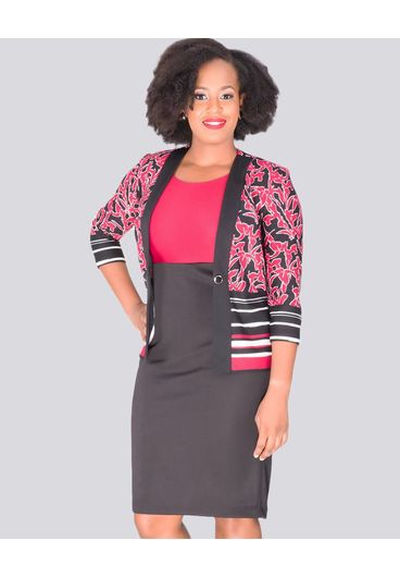 BAJA -  Printed 3/4 sleeve Jacket with Colour Block Dress