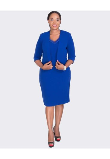 BERTHA - Plus Size 3/4 Sleeve Jacket and Dress