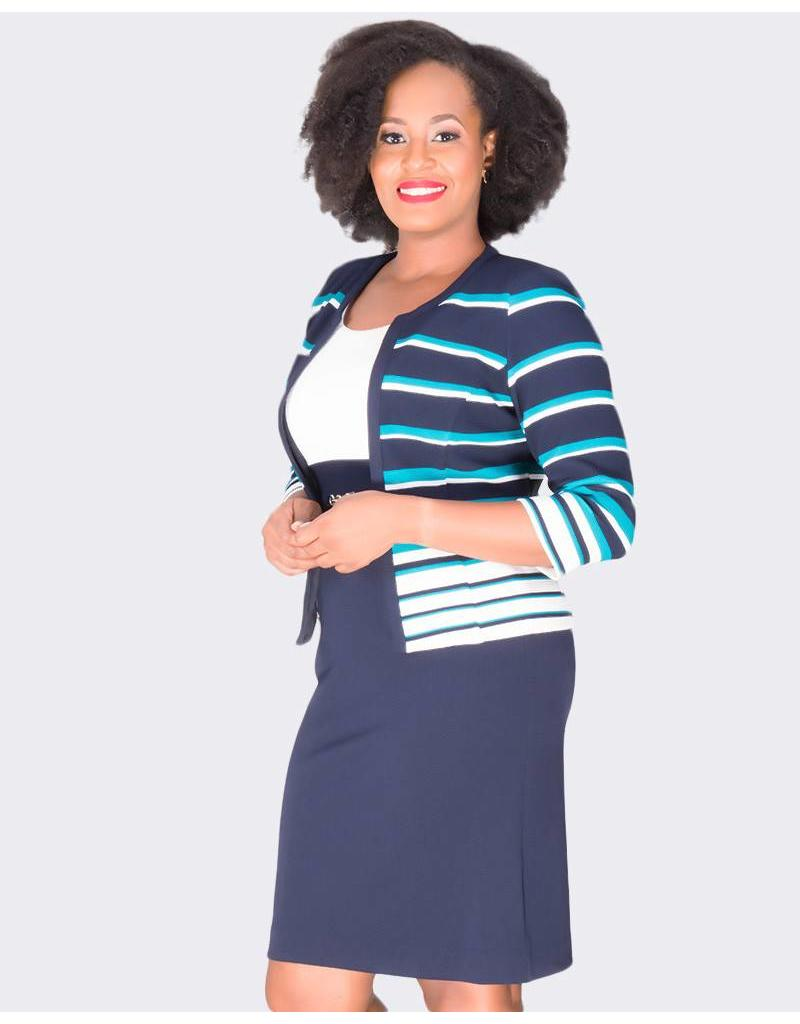 Studio One BETTY - Color Block Dress with Long Sleeve Jacket