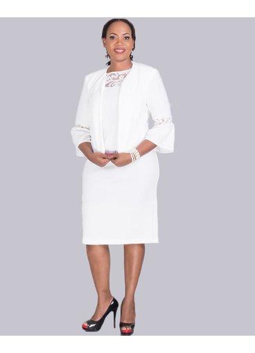 BELLENCIA- Jacket dress with illusion  neckline
