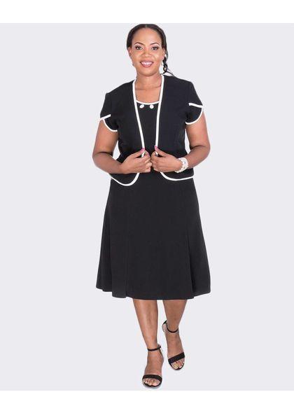 BETH - Short Sleeve Jacket and Bejeweled Neckline Dress