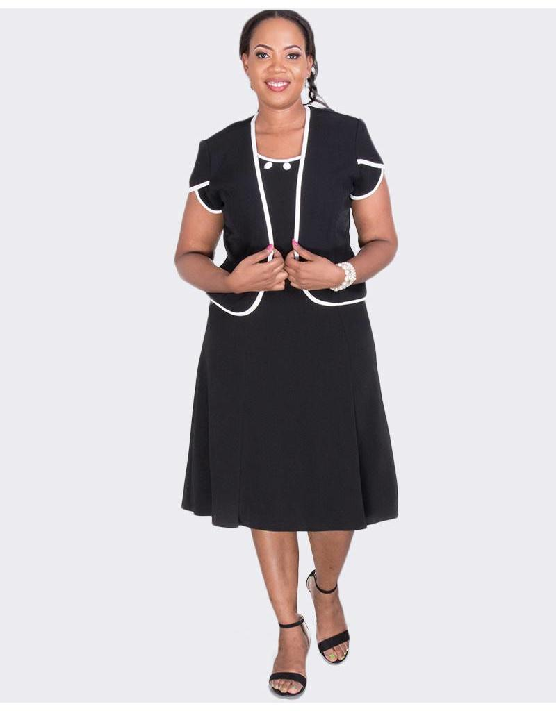 BETH - Short Sleeve Jacket and Bejeweled Neckline Dress