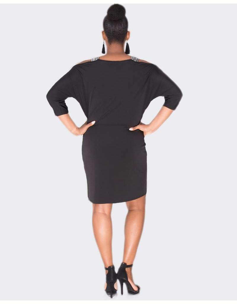 Sandra Darren IVARO - Cold Shoulder Long Sleeve Dress