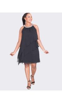 Jessica Howard FARASHA - Tiered Dress with Rhinestone Neckline