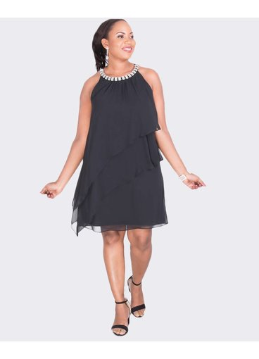 Jessica Howard FARASHA - Tiered Dress with Rhinestone Neckline