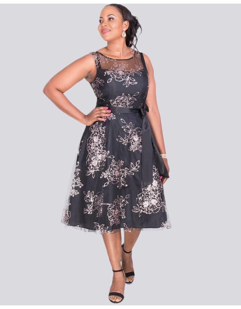 Jessica Howard MAHALIA - Floral Embroidered Dress with Illusion Neckline