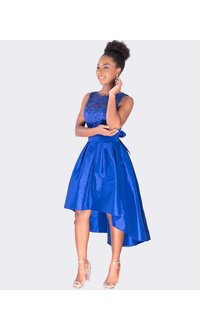 HALIMA - Petite  Fit and Flare High Low Dress