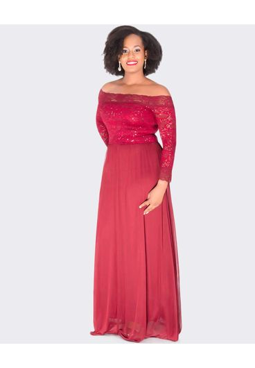 Carolina MITZI - Petite Off the Shoulder Full Length Gown