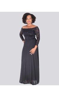 Carolina MITZI - Petite Off the Shoulder Full Length Gown