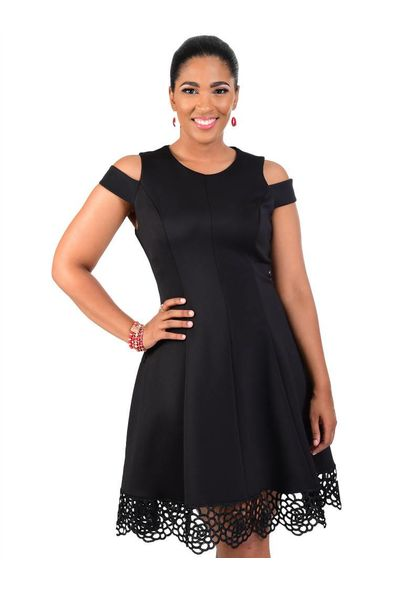 UNITY-Lace Scalloped Dress with On the Shoulder Cutouts