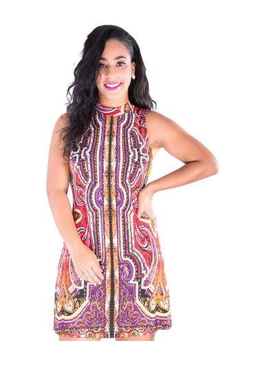YASMIN-Printed High Neckline Dress