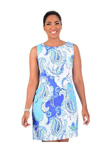 PENNY-Paisley Printed  Sheath Dress