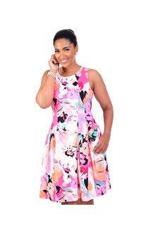 Nine West UVA-Printed Sleeveless Fit and Flare Dress