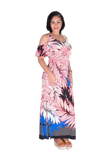 Nine West ISHANI-Printed Cold shoulder Maxi Dress