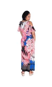Nine West ISHANI-Printed Cold shoulder Maxi Dress