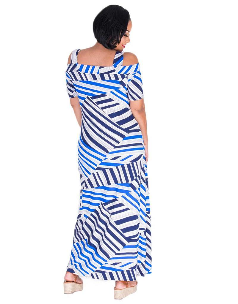 Nine West IDALEE-Maxi Stripe Print Cold Shoulder Dress