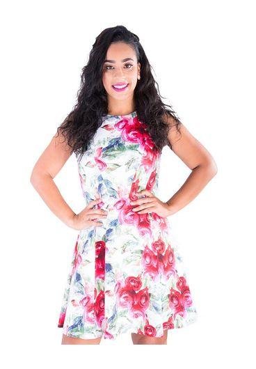 URI-Rose Print Fit & Flare Dress