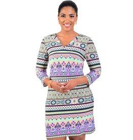 IVOLA-Printed Three Quarter Sleeve Dress