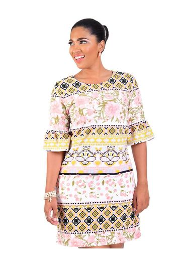 PRIA-Printed Dress with 3/4 Trumpet Sleeves