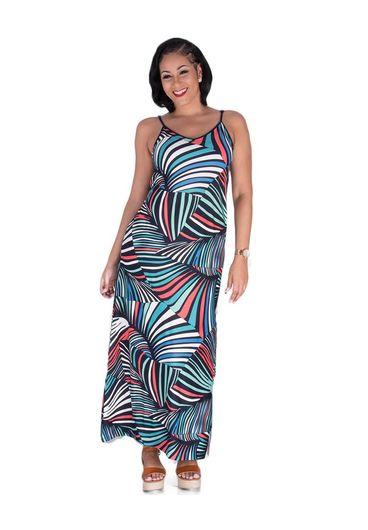 YONINA-Printed Thin Strap V-Neck Maxi Dress