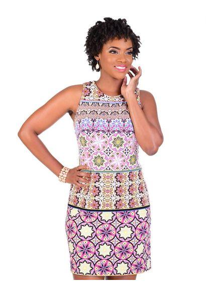 YOLANDE-Printed Multi Pattern Sleeveless Sheath Dress