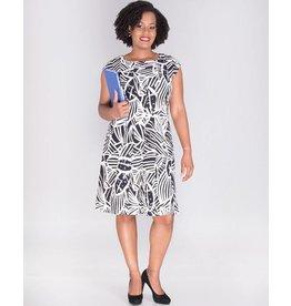 Signature BELEN-Short Sleeve Foil Print Dress