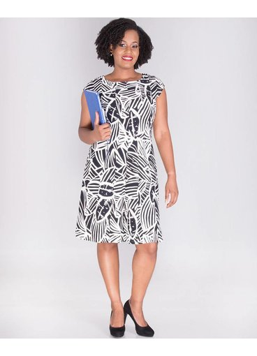 Signature BELEN-Short Sleeve Foil Print Dress