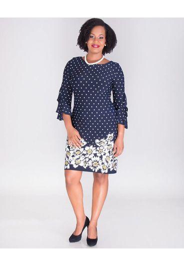 Sandra Darren REGINY-Polka Dot & Floral Crepe Dress