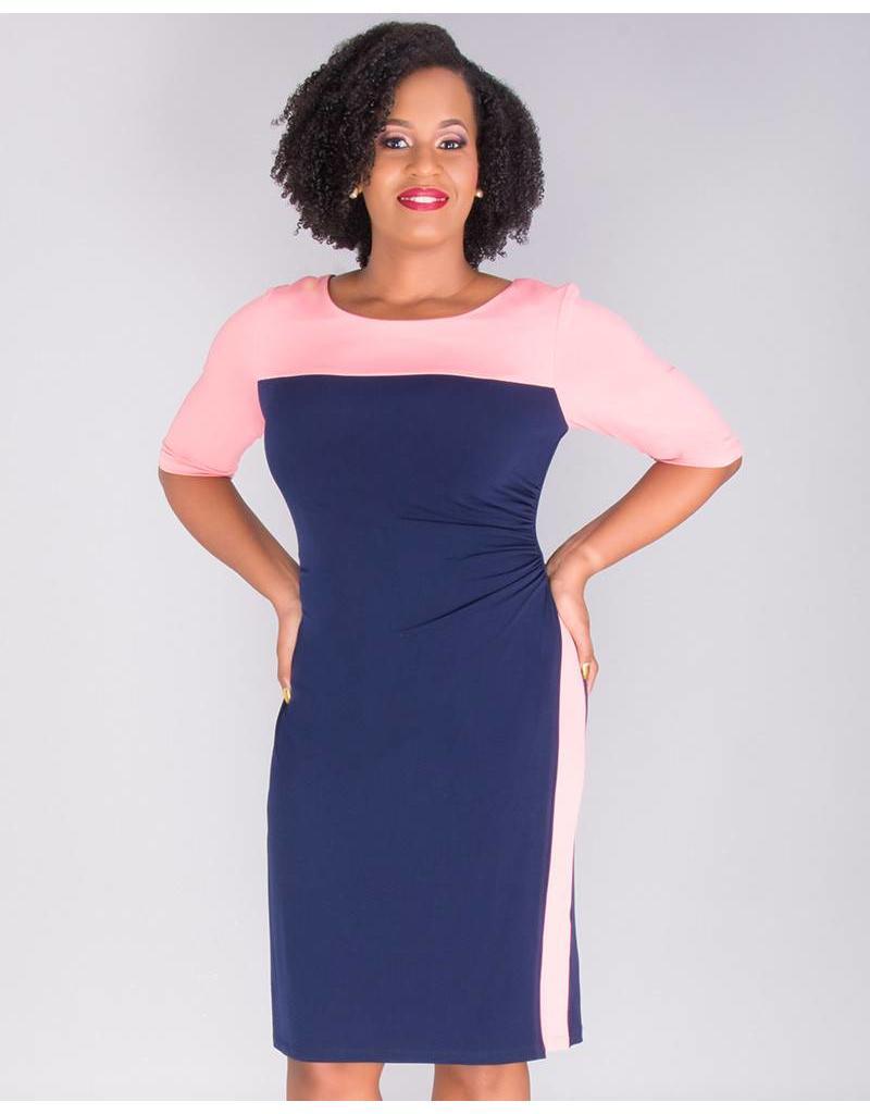 IMALA-Color Block 3/4 Sleeve Dress