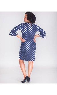 RAZILI- Polka Dot 3/4 Sleeve Crepe Dress