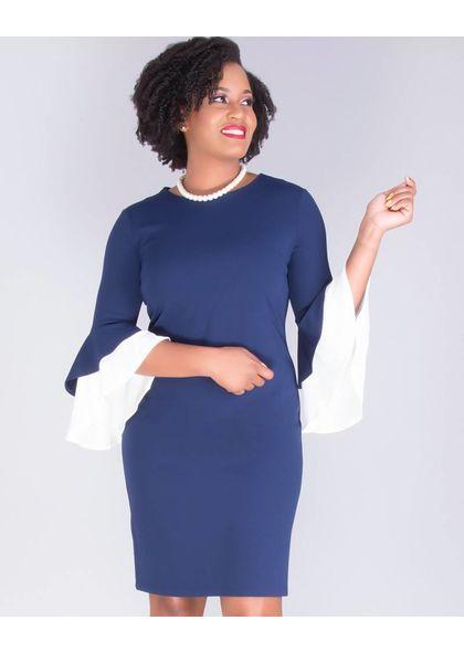 RAYMONDA- Crepe Dress with Color Block Sleeve