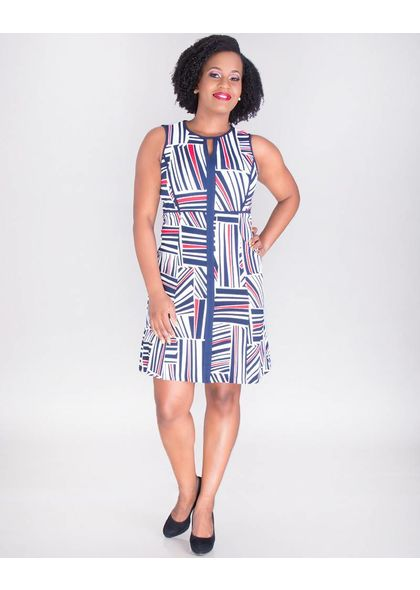 PAVATI- Geo Print Sleeveless Dress