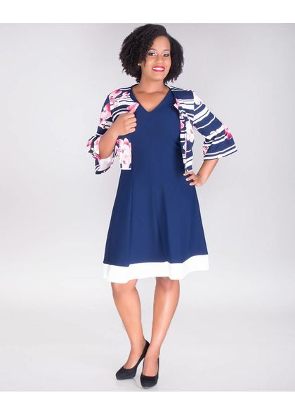 Signature BLAIR-V-Neck Solid Dress with Floral Puff Print Jacket