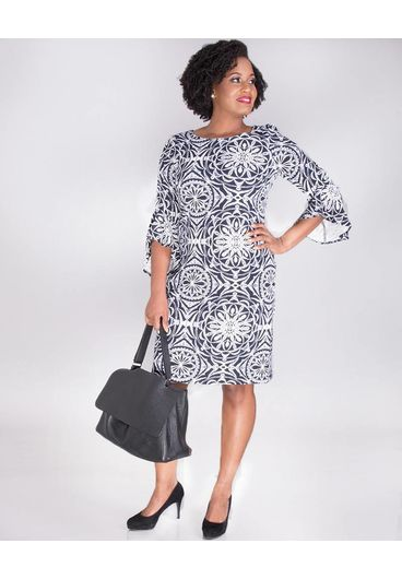 PAULANA-Mandala 3/4 Sleeve Printed Dress