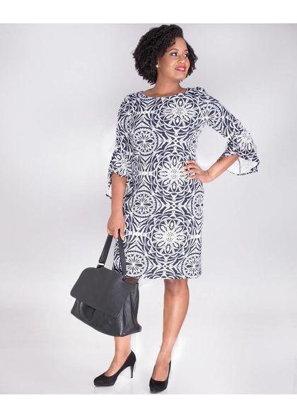PAULANA-Mandala 3/4 Sleeve Printed Dress