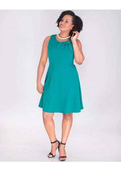 Signature RENATA-Sleeveless Crepe Dress with Bow At Neck