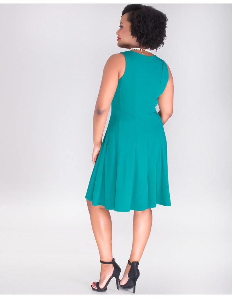 Signature RENATA-Sleeveless Crepe Dress with Bow At Neck