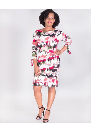 Nine West IRATI-Printed  3/4 Sleeves Dress with Tie
