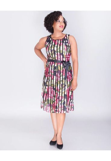 URBANA- Sleeveless Dress with Mesh Stripes
