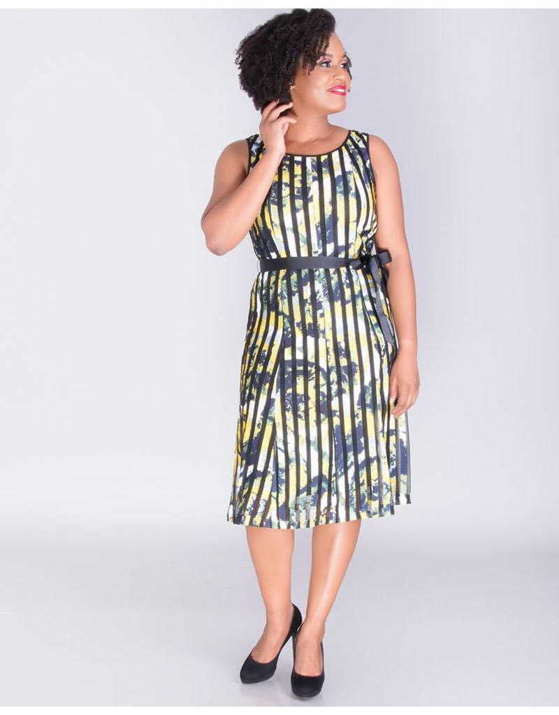 URBANA- Sleeveless Dress with Mesh Stripes