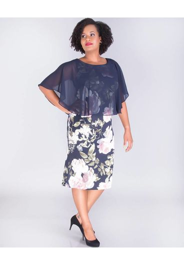 UNDINE- Floral Dress with Solid Chiffon Cape