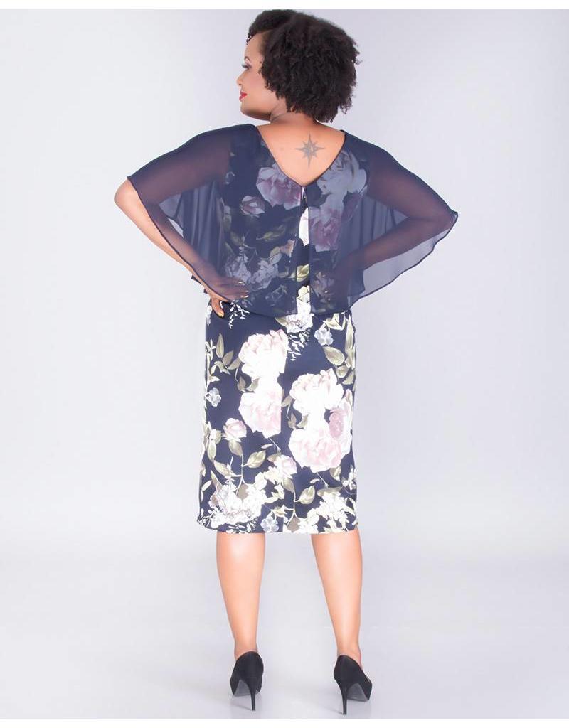 67793d39ad4d Undine- CONN flrl dress w/sld chffn cape - Harmonygirl.com