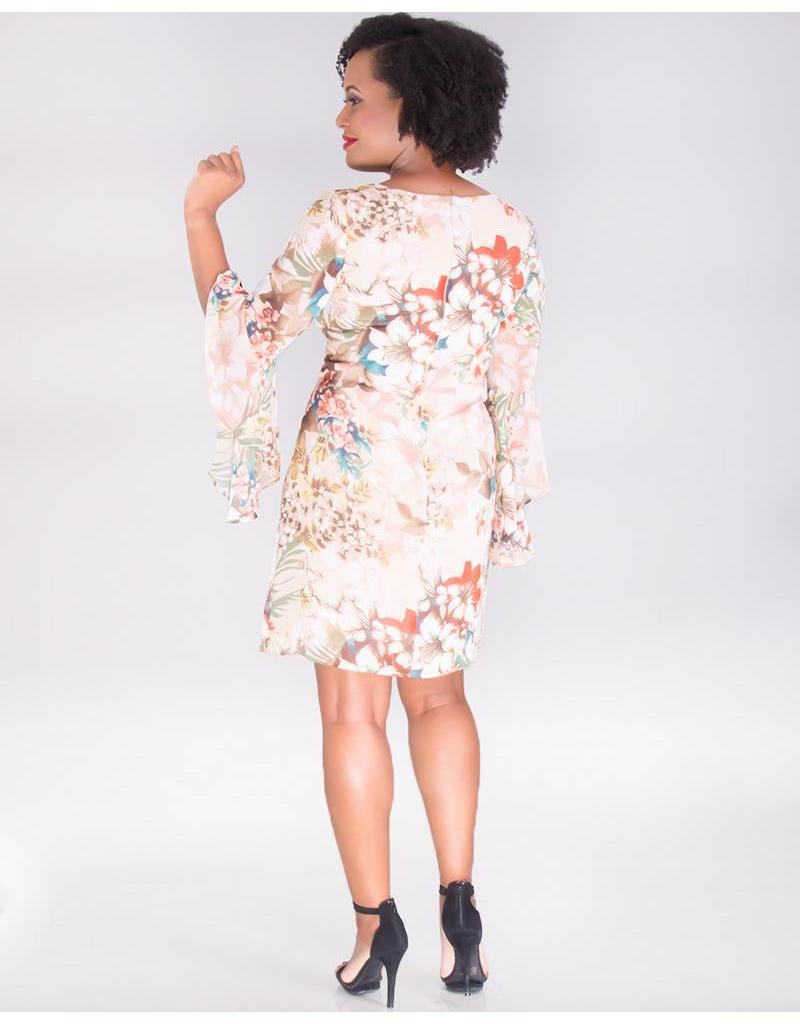 FANCHON-Floral Chiffon Dress with Drama Sleeves